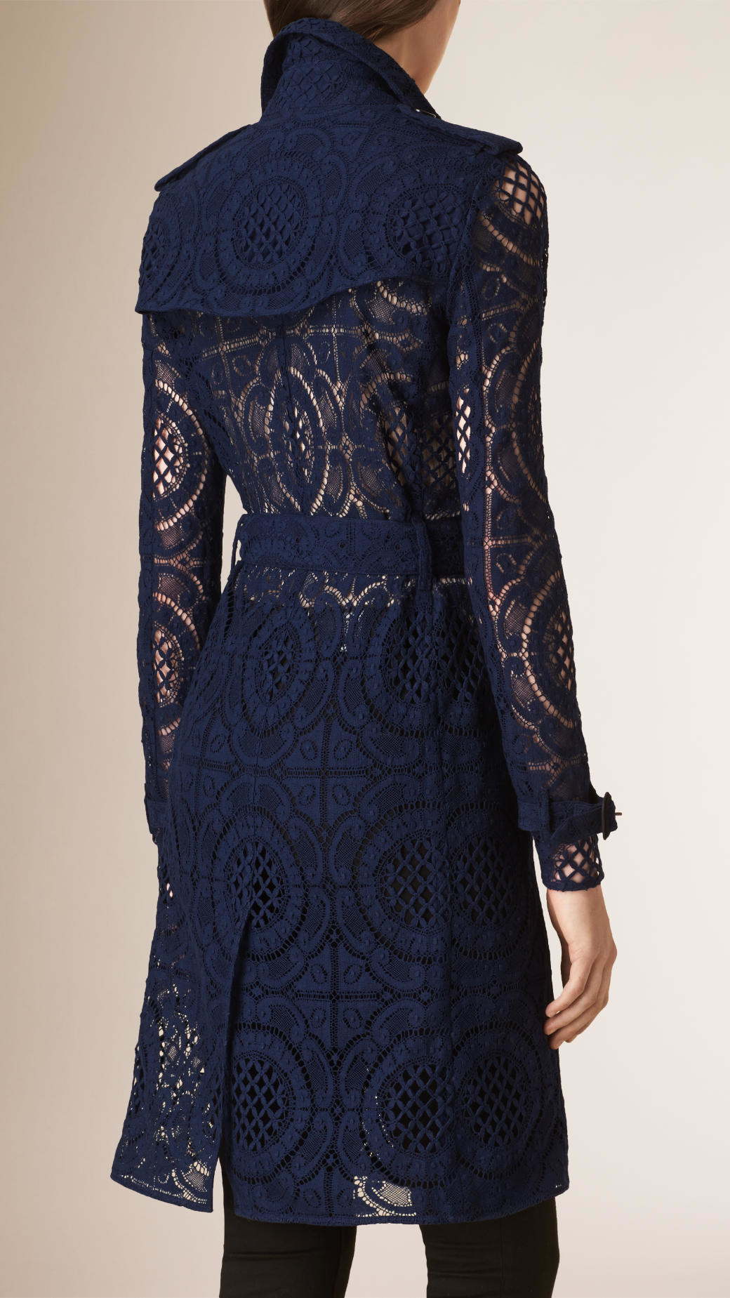 Burberry English Lace Trench Coat In Blue Lyst