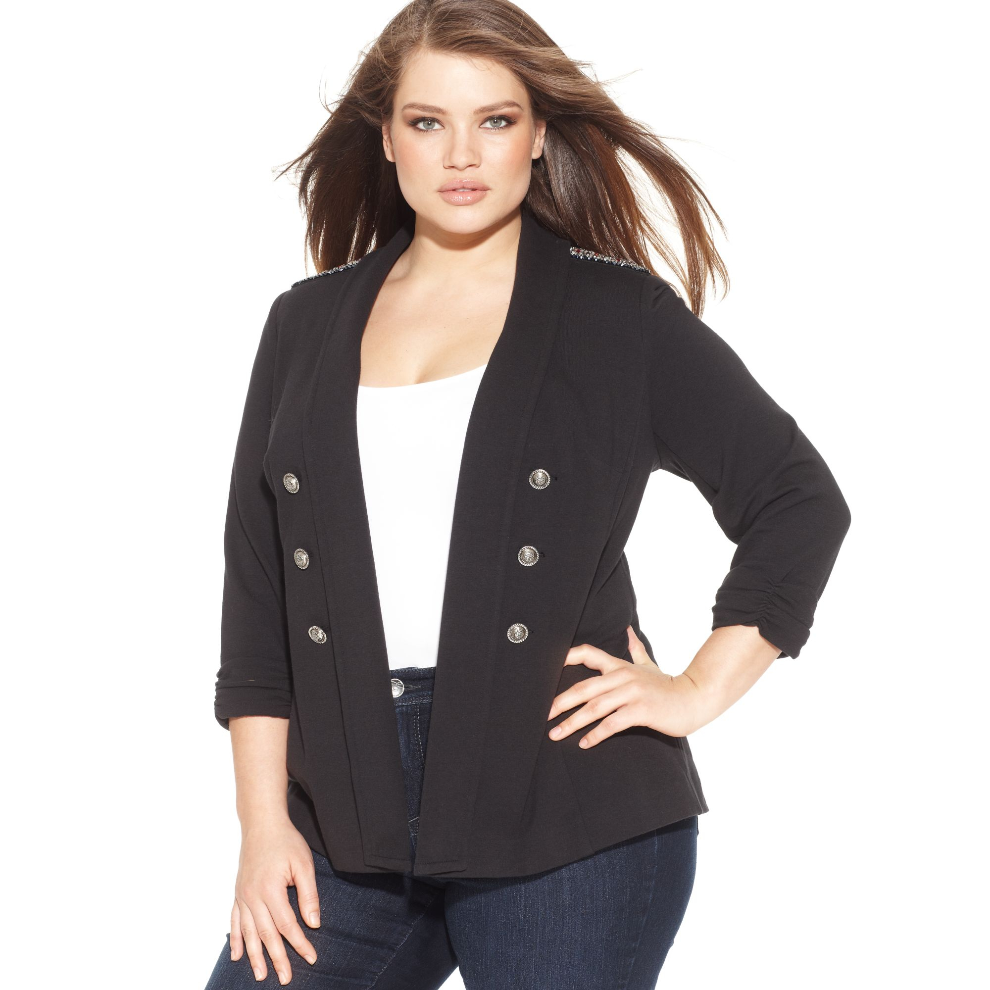 4236806d34c Lyst - INC International Concepts Plus Size Military Jacket in Black