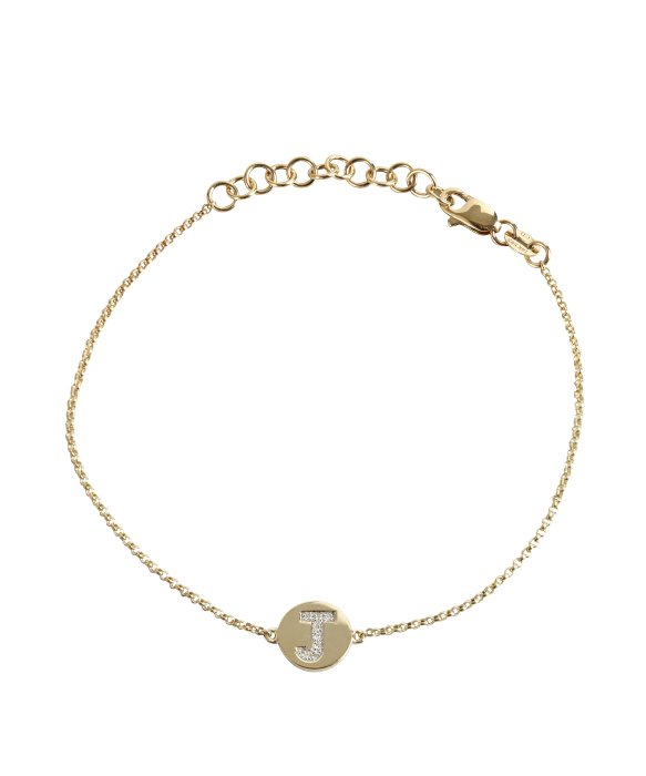 Lyst kc designs gold and diamond j initial pendant bracelet in gallery aloadofball Images