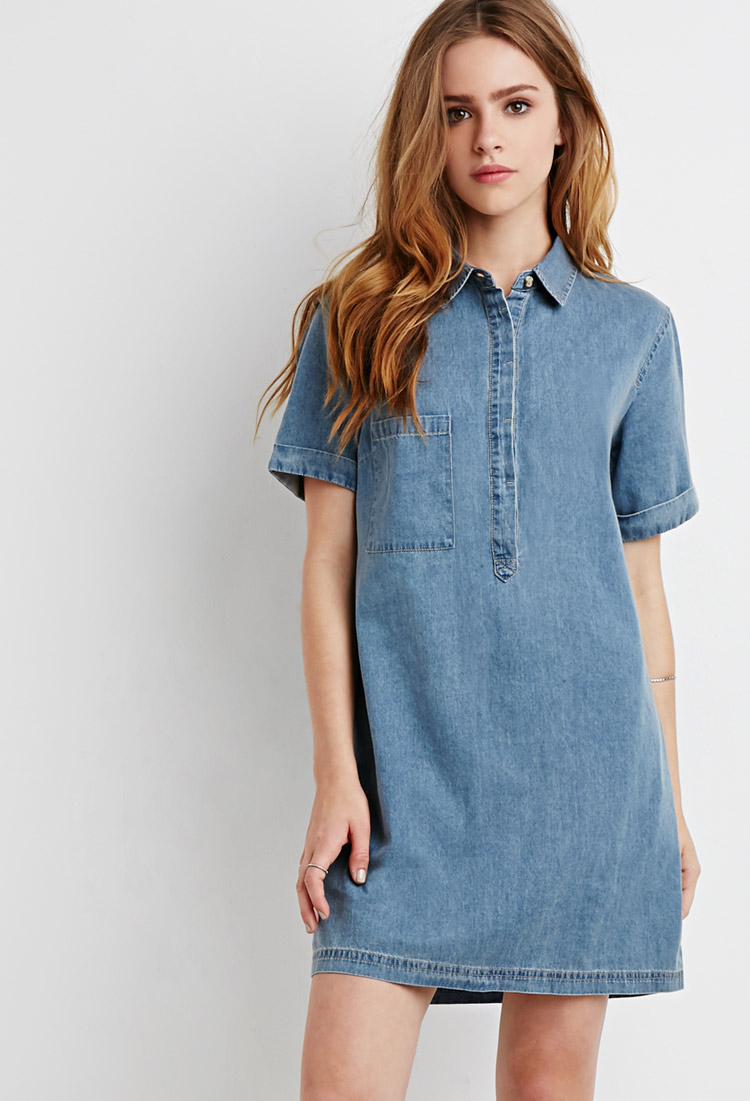 df6a183496 Forever 21 Denim Shirt Dress in Blue - Lyst
