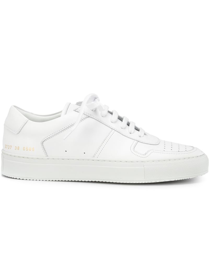 common projects lace up perforated leather sneakers in white lyst. Black Bedroom Furniture Sets. Home Design Ideas