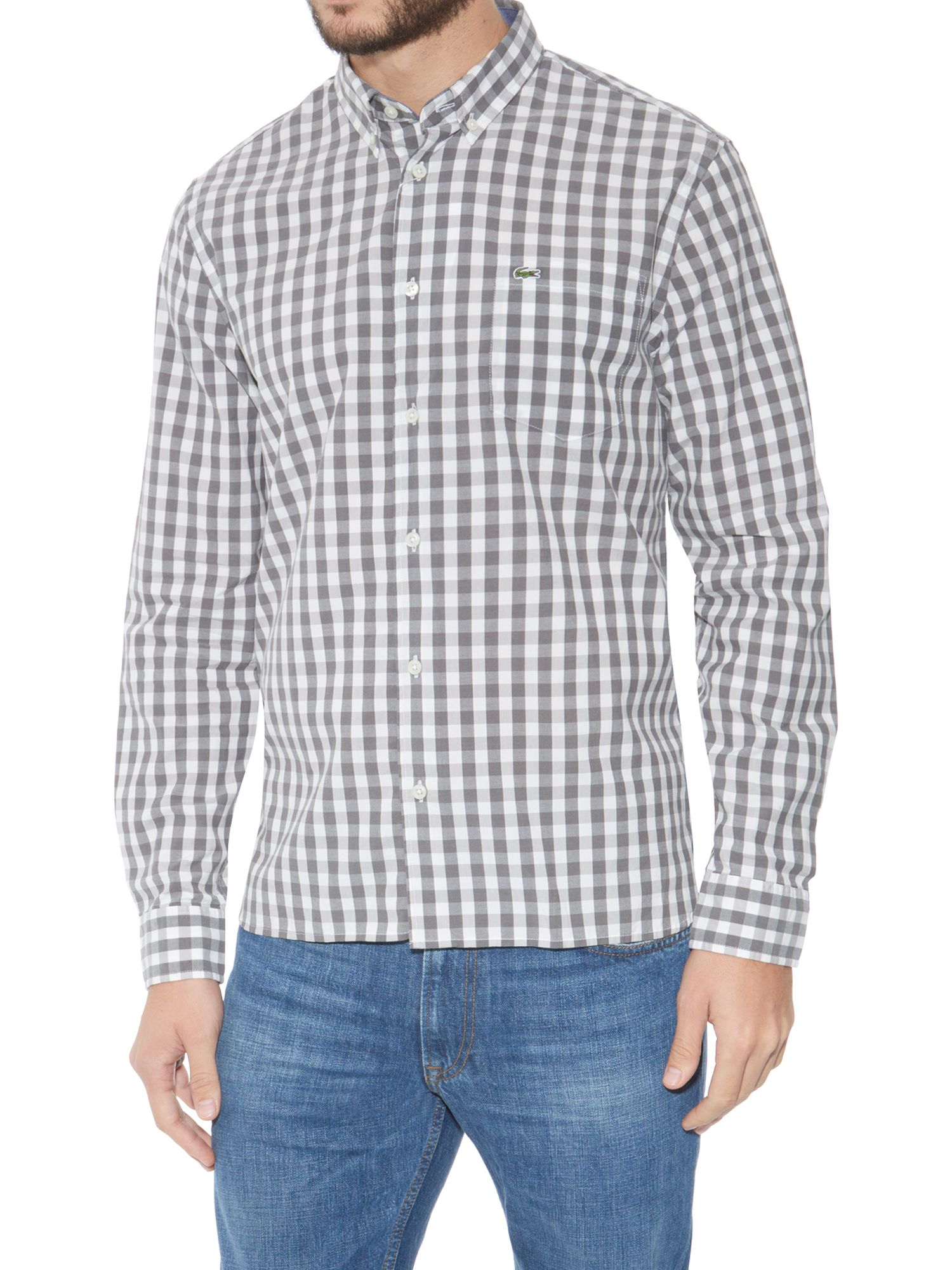 lacoste large gingham check shirt in gray for men grey