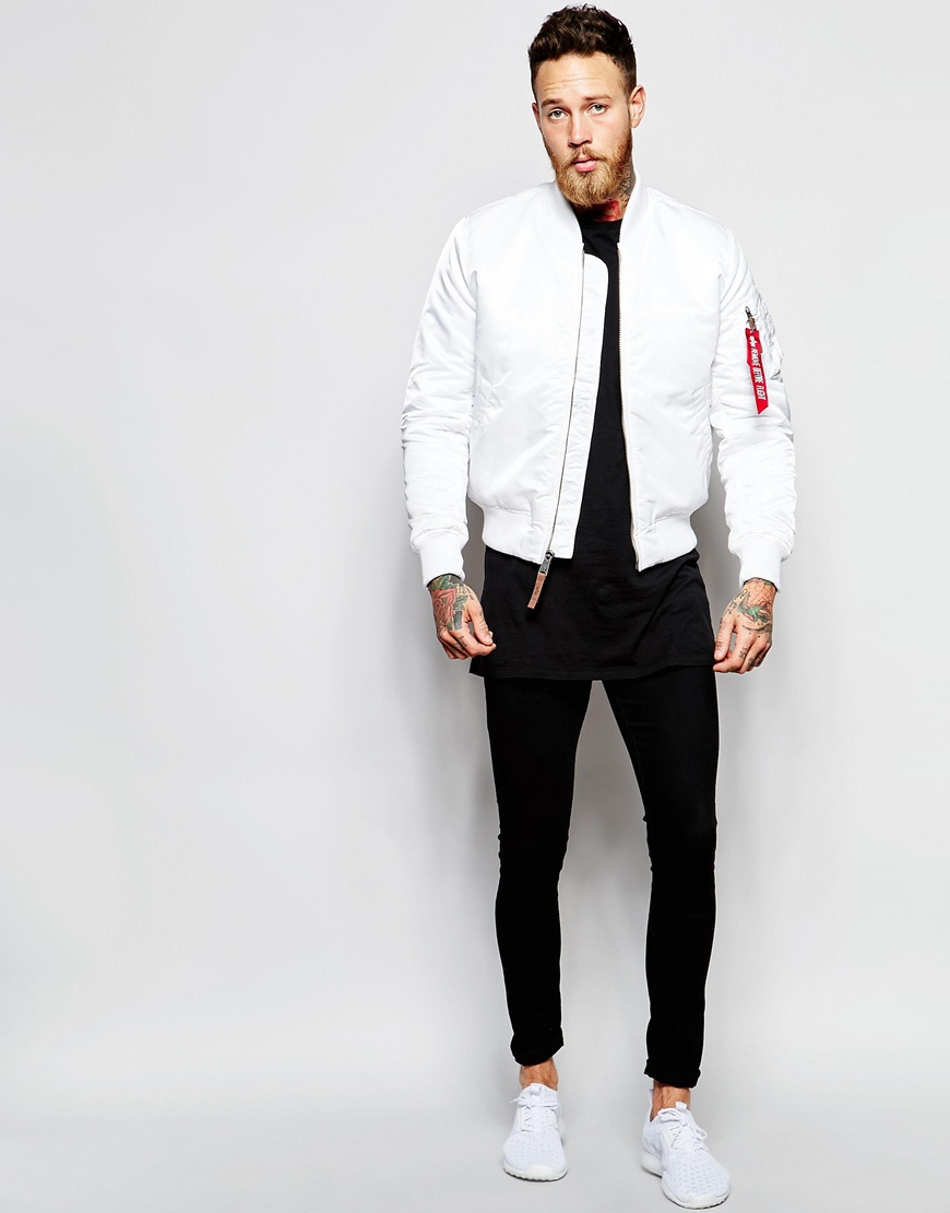 803885a7 Alpha Industries Bomber Jacket With Insulation Slim Fit In White in White  for Men - Lyst