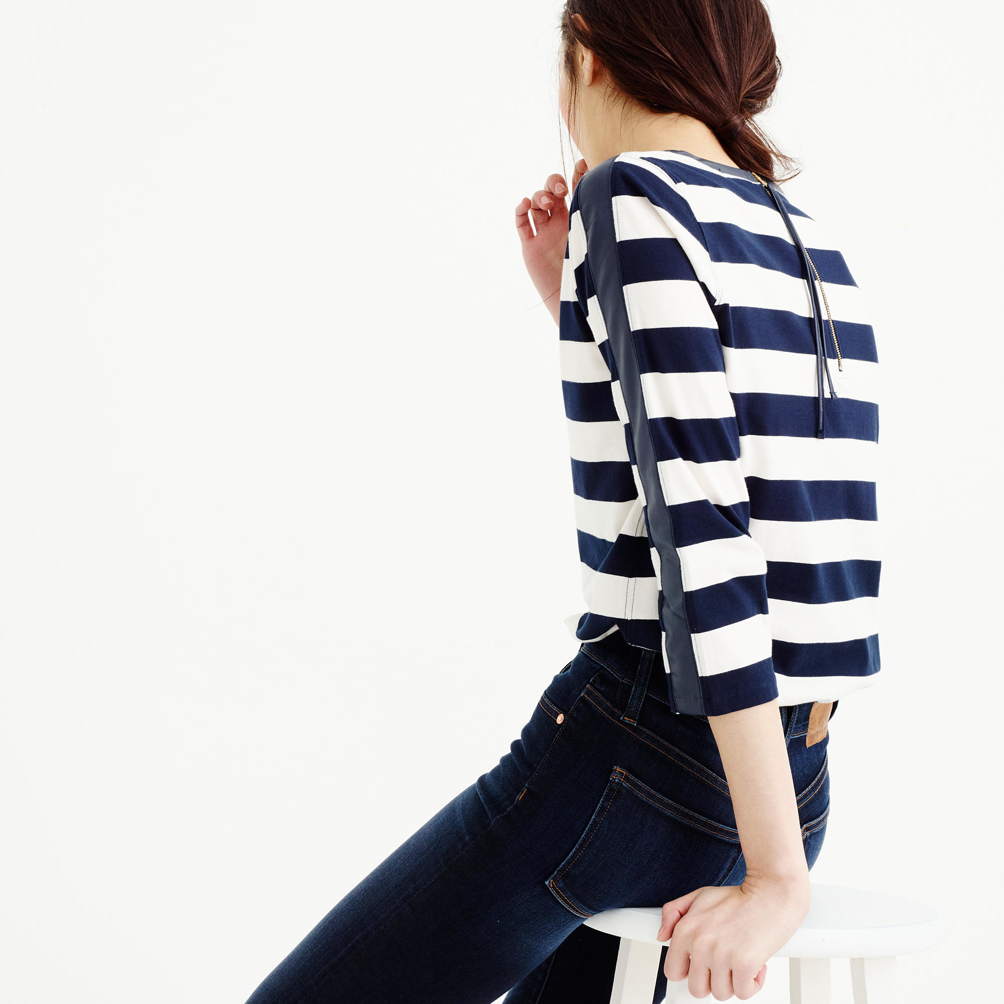 J Crew Rugby Striped T Shirt With Back Zipper In Blue Lyst