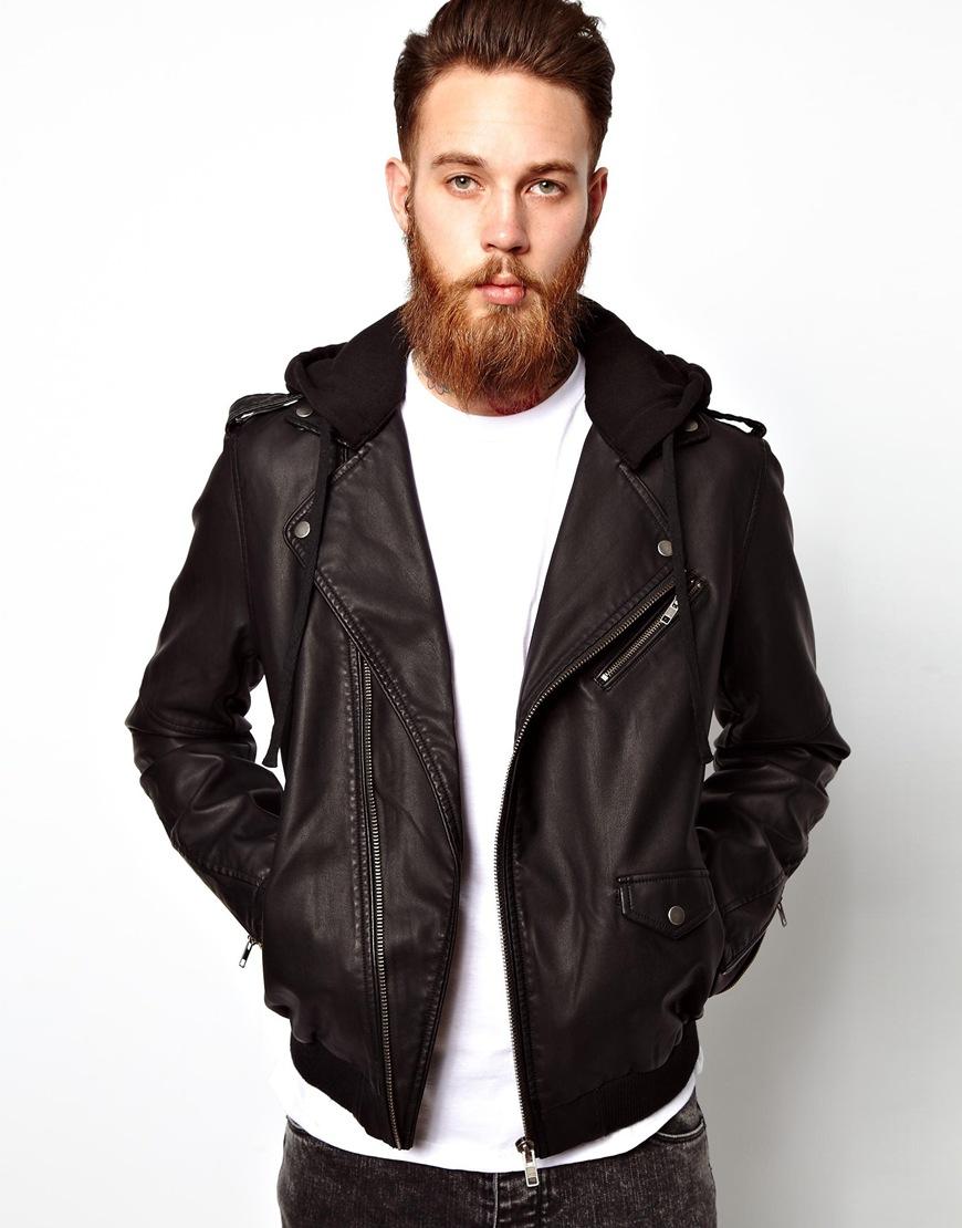 Asos black leather jacket