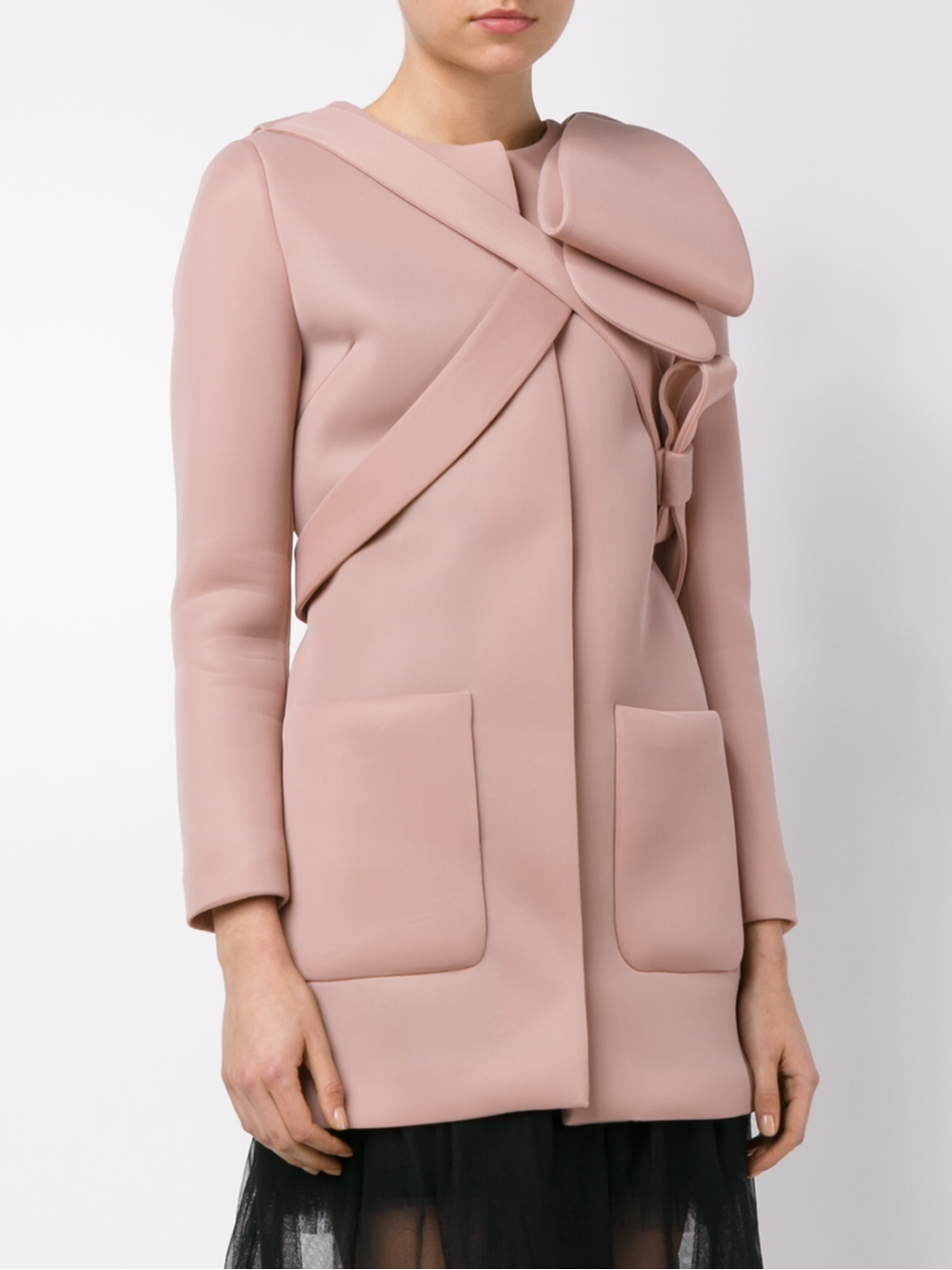 Simone rocha Neoprene Bow Coat in Pink | Lyst