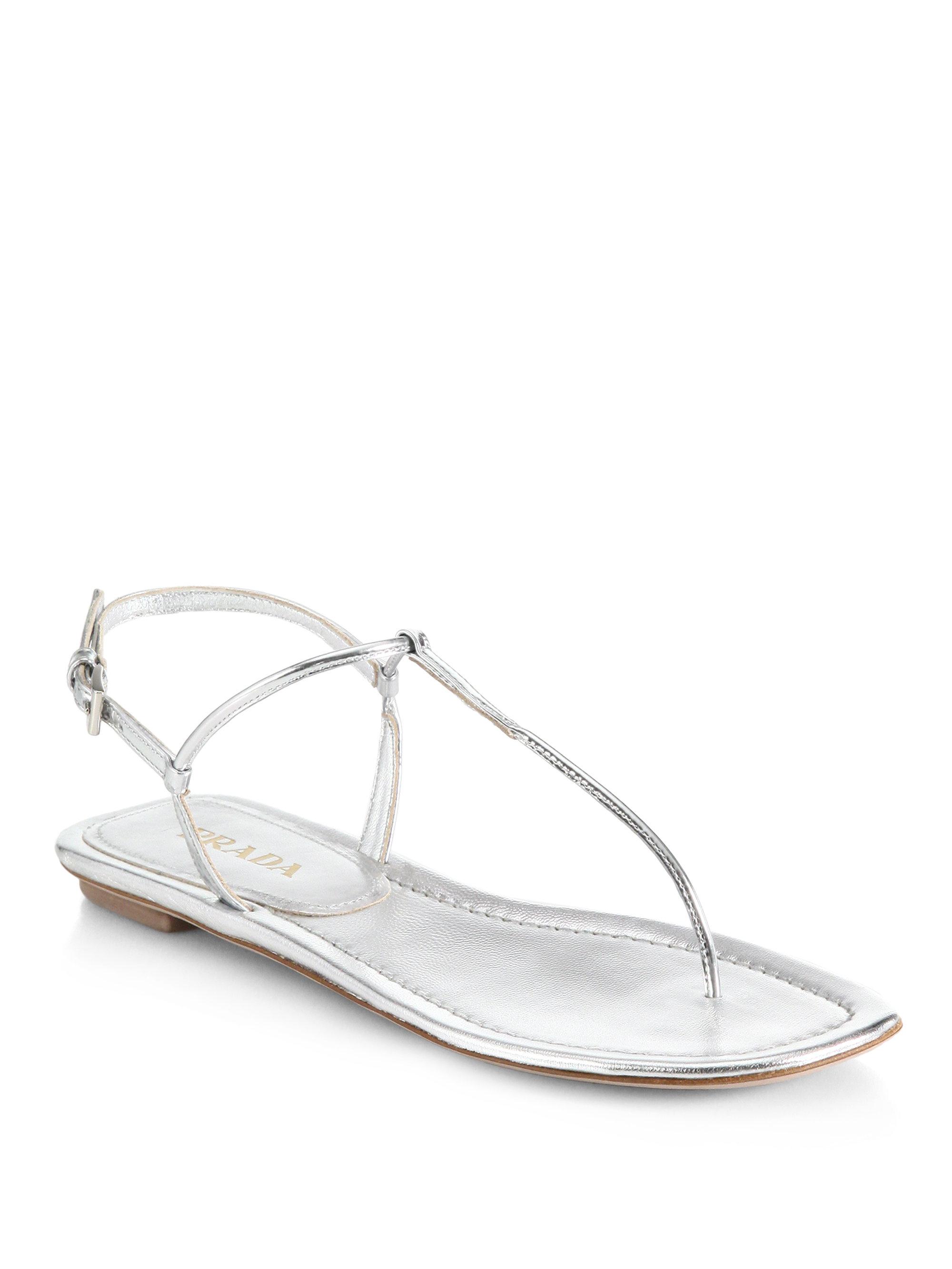 bab9e754014ade Lyst - Prada Metallic Leather Thong Sandals in Metallic