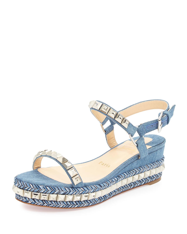 christian louboutin men shoes replica - Christian louboutin Cataclou Denim 60mm Wedge Red Sole Sandal in ...