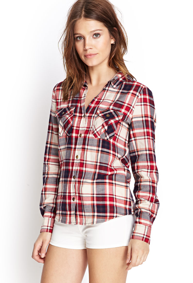 Forever 21 Tartan Plaid Shirt In Red Peach Red Lyst