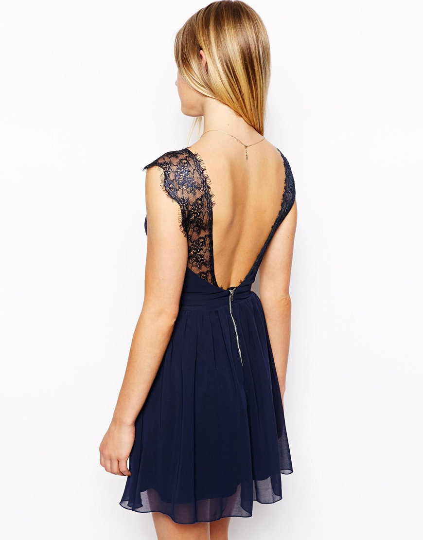 Lyst - ASOS Petite Exclusive Eyelash Lace Skater Dress in Blue 119ec39f3