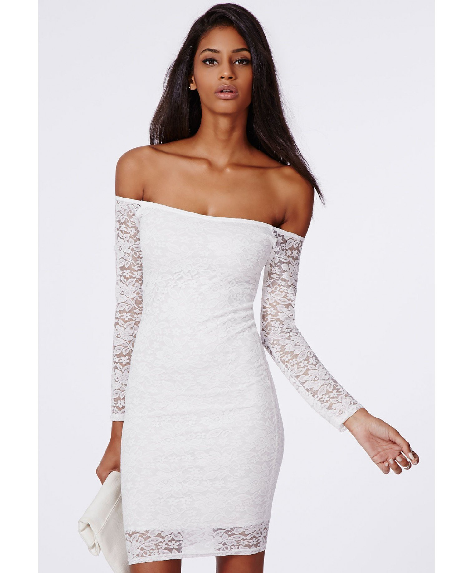 f218a1a7537e Lyst - Missguided Gracie Lace Bardot Bodycon Dress White in White