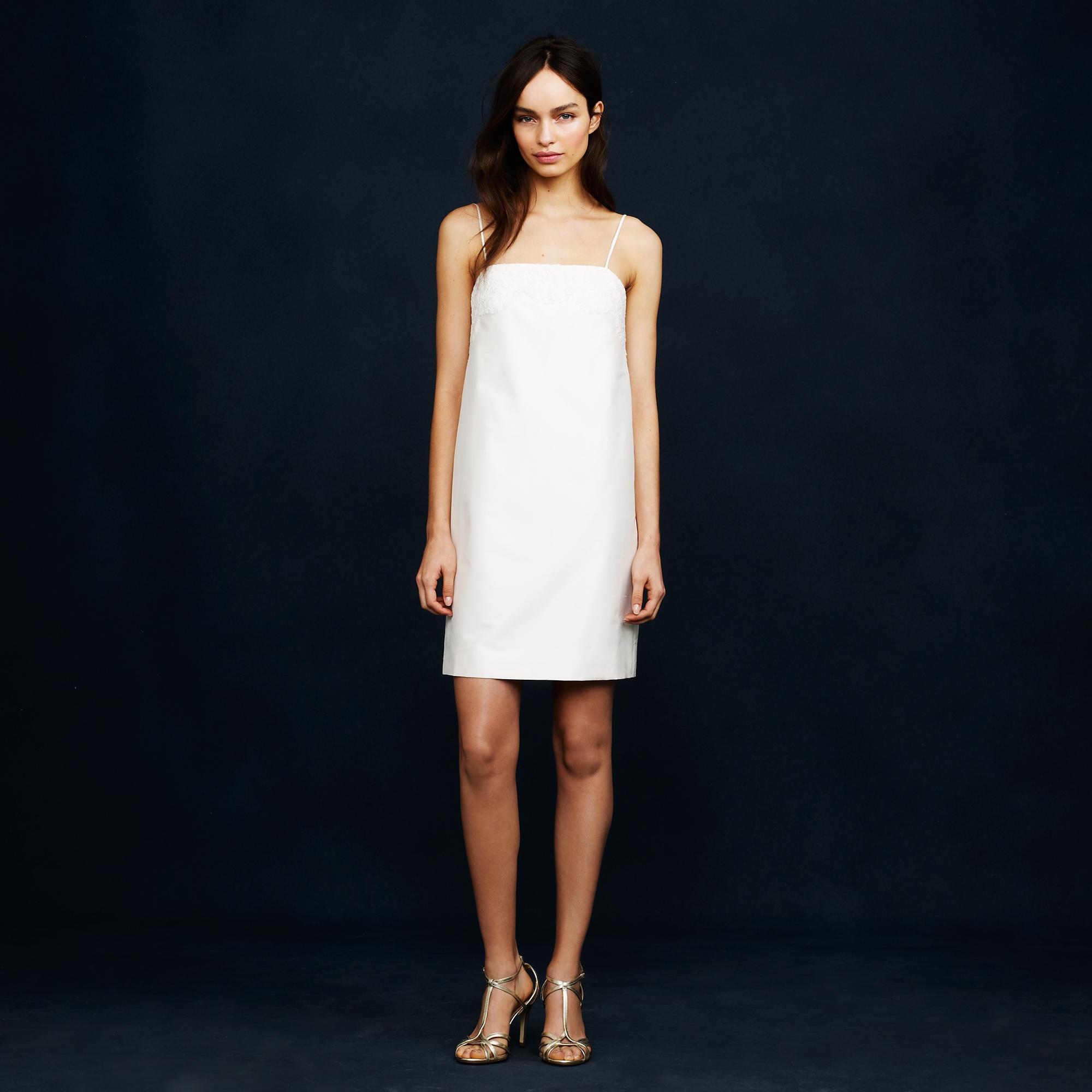 J.crew Lace-trim Mini-dress In White