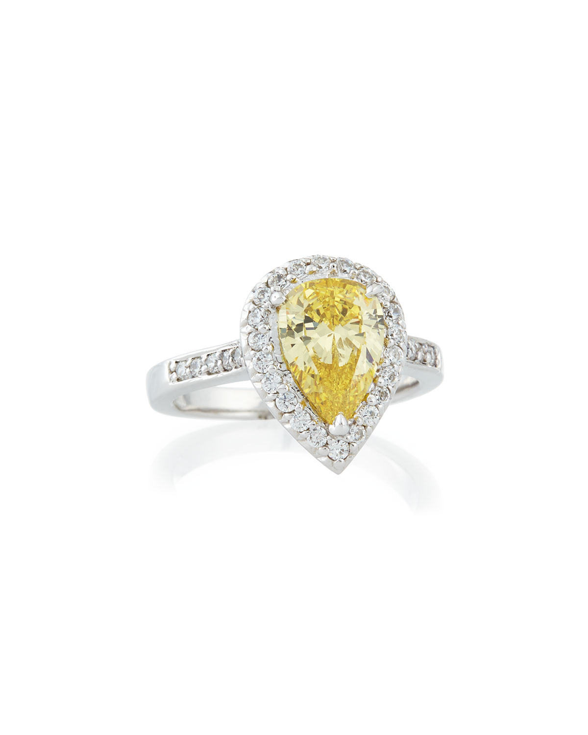 Fantasia Pear-Cut Crystal Ring w/ Tapered Baguettes FmEBc3qMZl