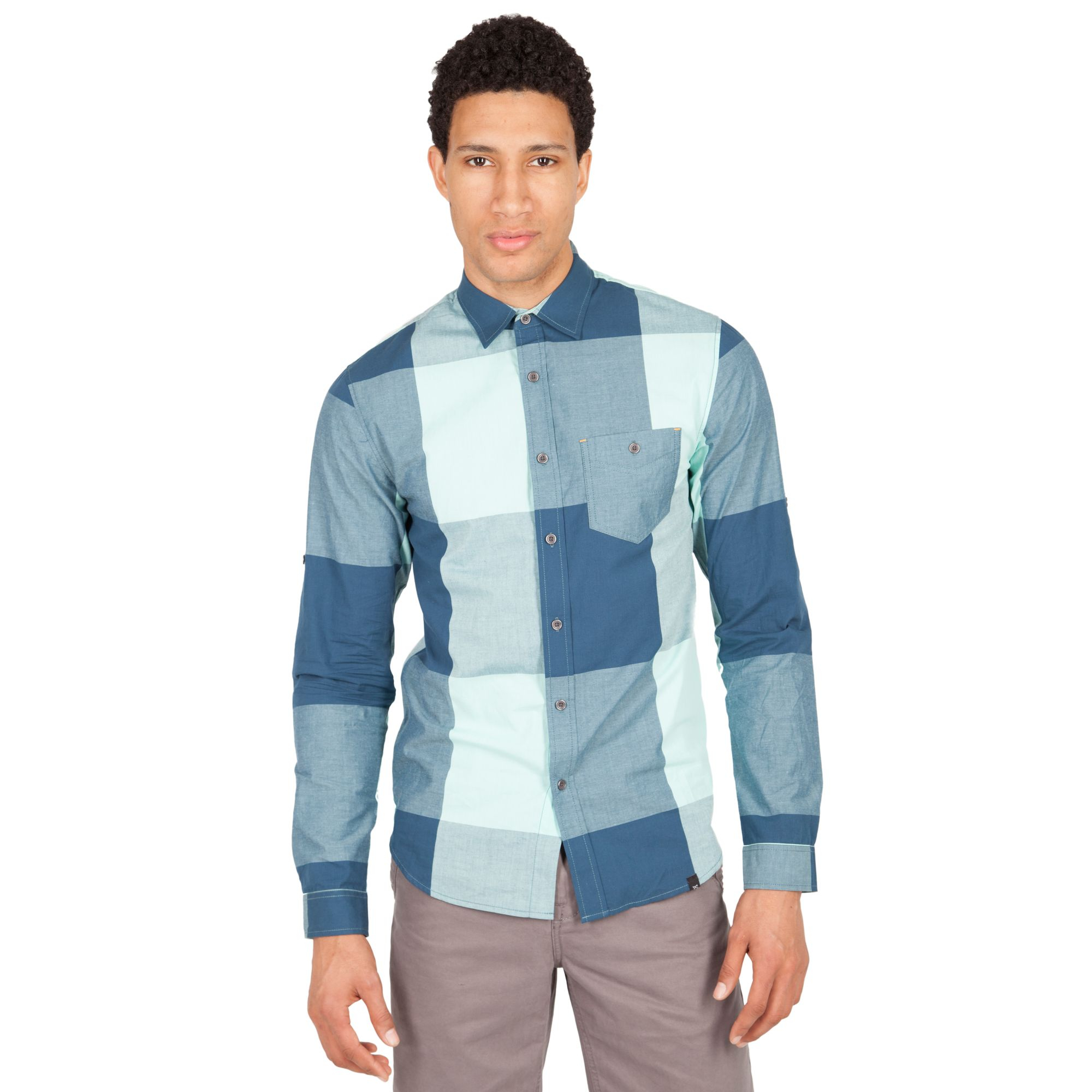 Lyst marc ecko long sleeve hit parade shirt in blue for men for Marc ecko dress shirts
