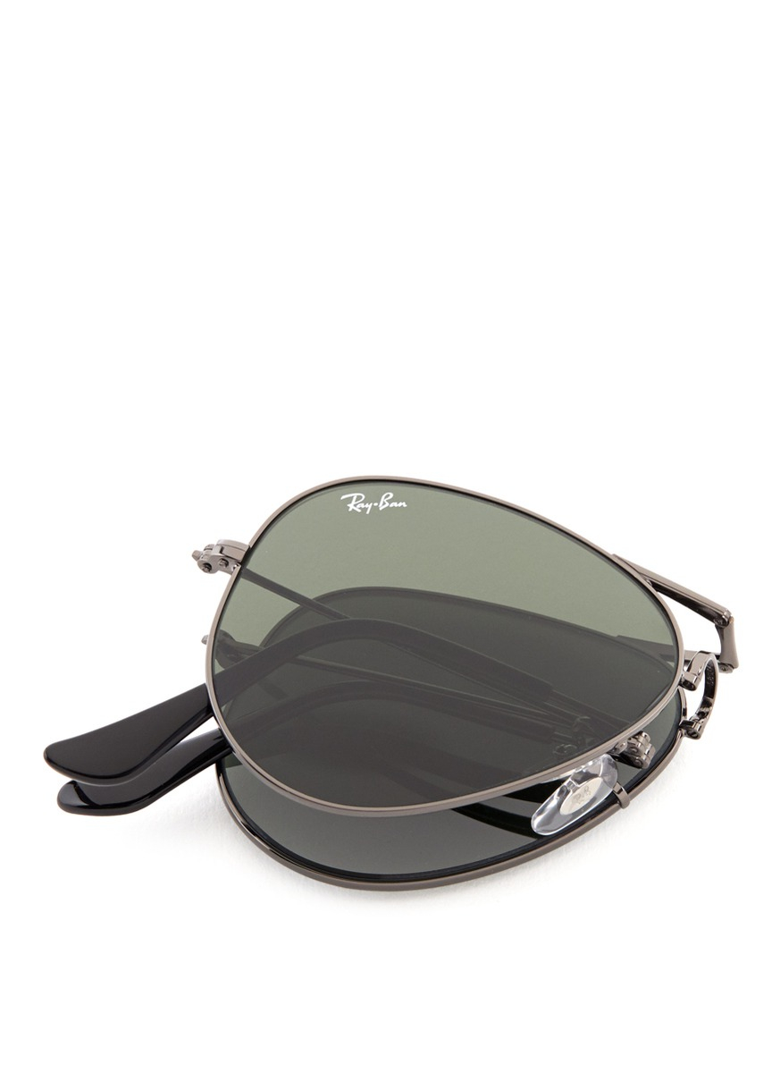 Ray Ban Wireframe Glasses : Ray-ban aviator Folding Wire Sunglasses in Metallic Lyst