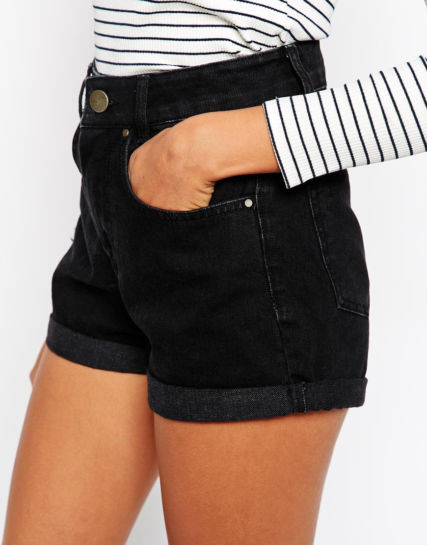 black jean high waisted shorts - Jean Yu Beauty