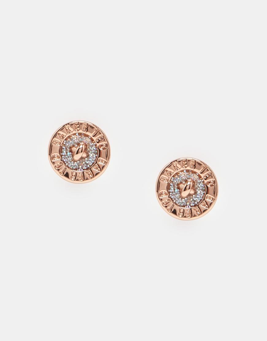 Lyst Ted Baker Enamel Logo Button Stud Earrings In Pink