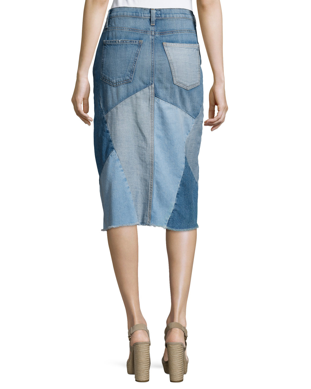 current elliott the patchwork denim skirt in blue lyst