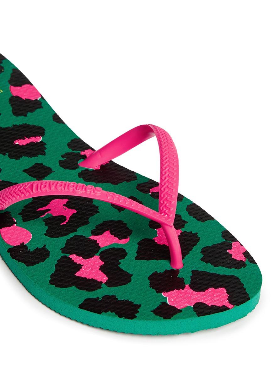 08262c0eb Lyst - Havaianas  flat Style  Leopard Print Flip Flops in Green