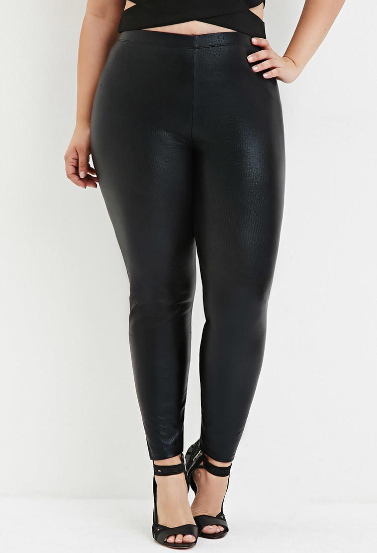 100% genuine huge range of new varieties Forever 21 Plus Size Ribbed Faux Leather Leggings in Black ...
