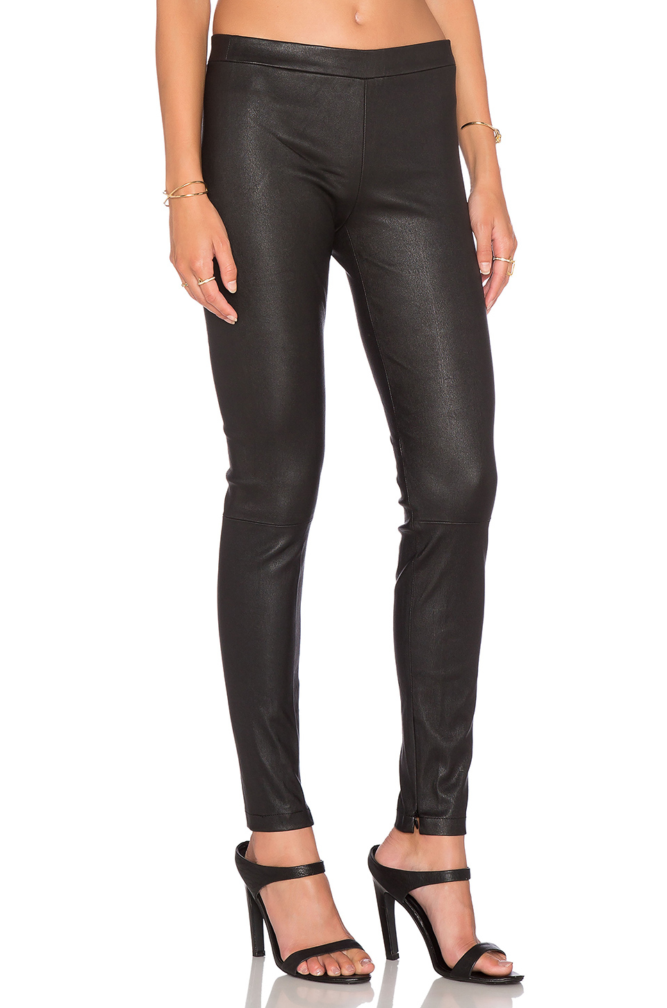 Lyst Vince Leather Ankle Zip Legging In Black