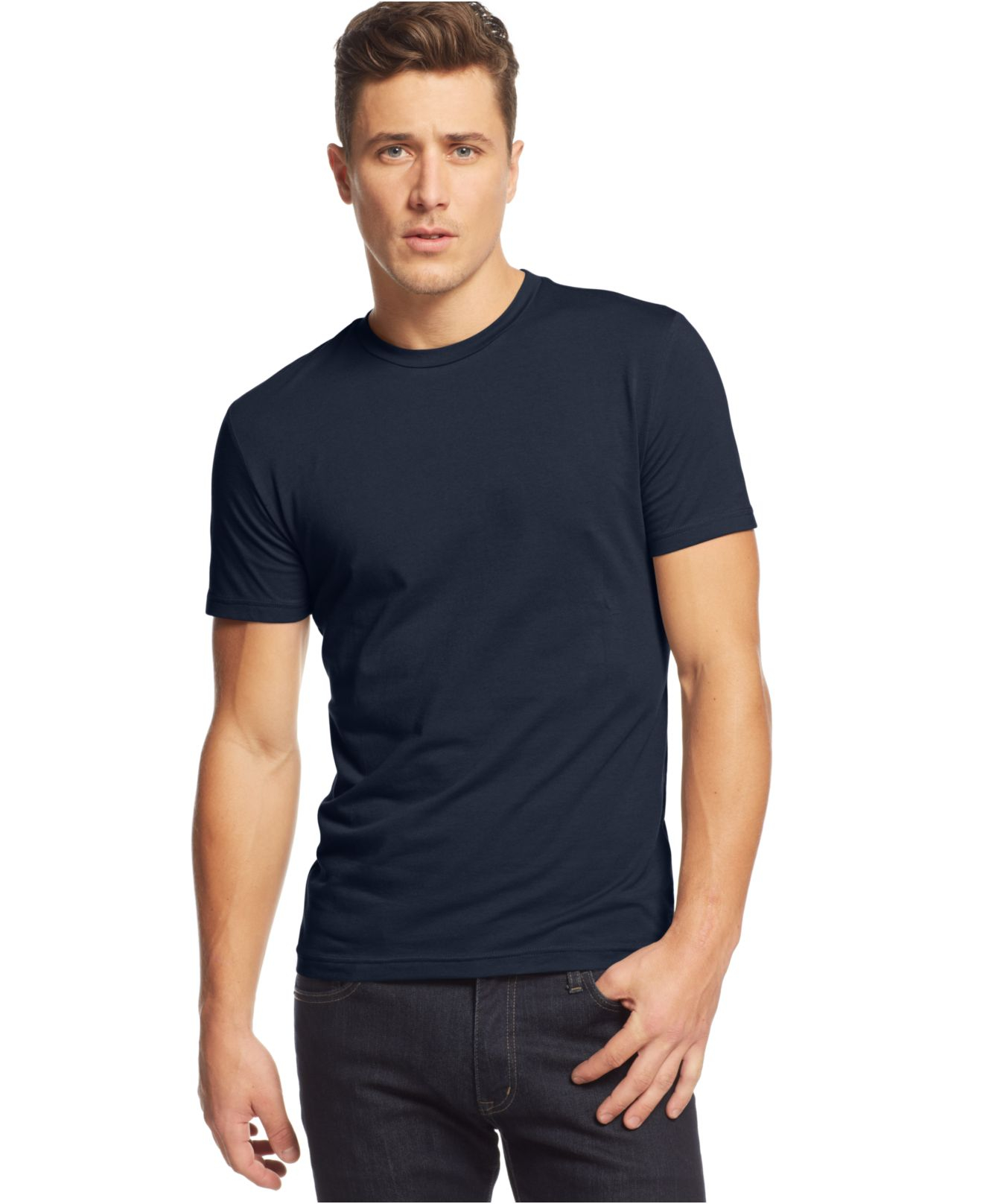 Alfani big and tall solid stretch crew neck t shirt in for Slim fit tall shirts