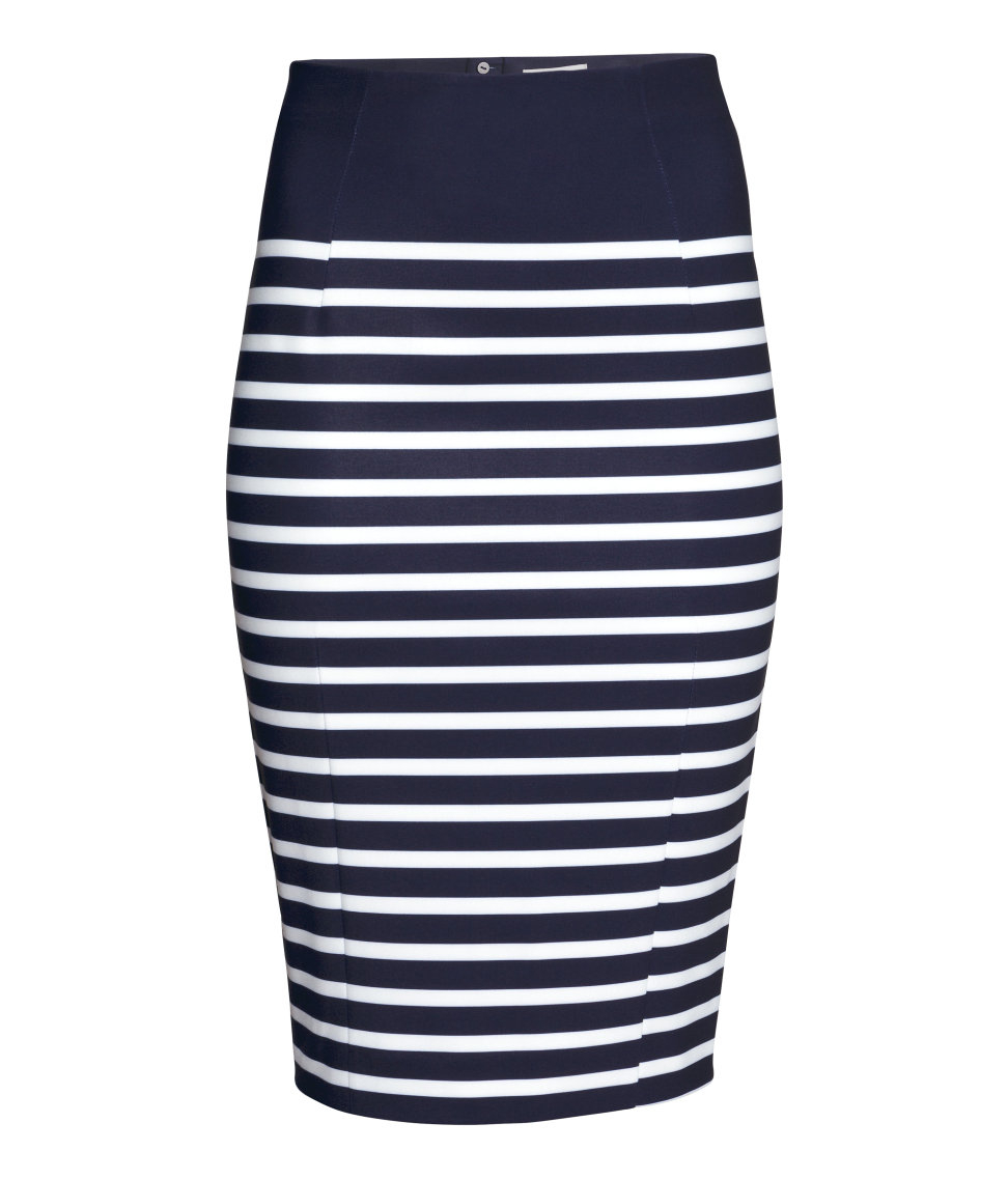 h m pencil skirt in blue lyst