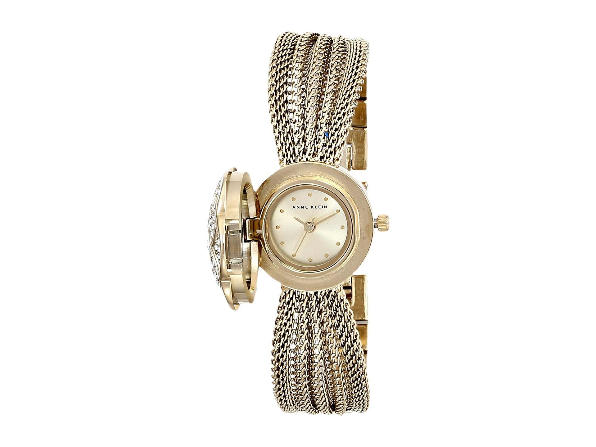 Anne klein ak 1046chcv swarovski crystal accented gold tone covered dial mesh bracelet watch in for Anne klein swarovski crystals