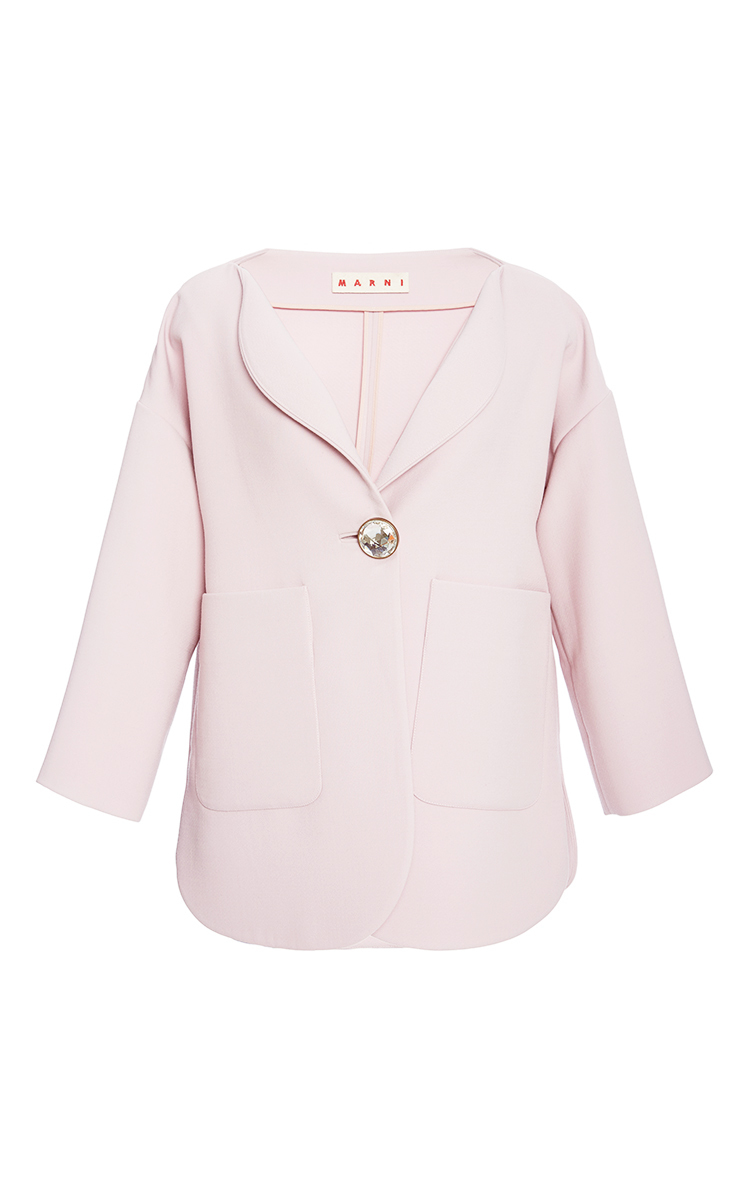Marni Pink Collarless Jacket With Jeweled Button in Pink | Lyst