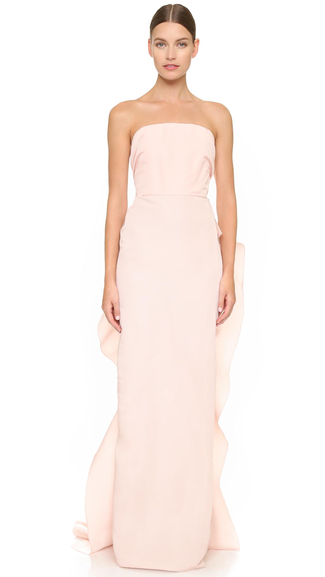 Marchesa Strapless Silk Faille Column Gown - Blush in Pink  Lyst