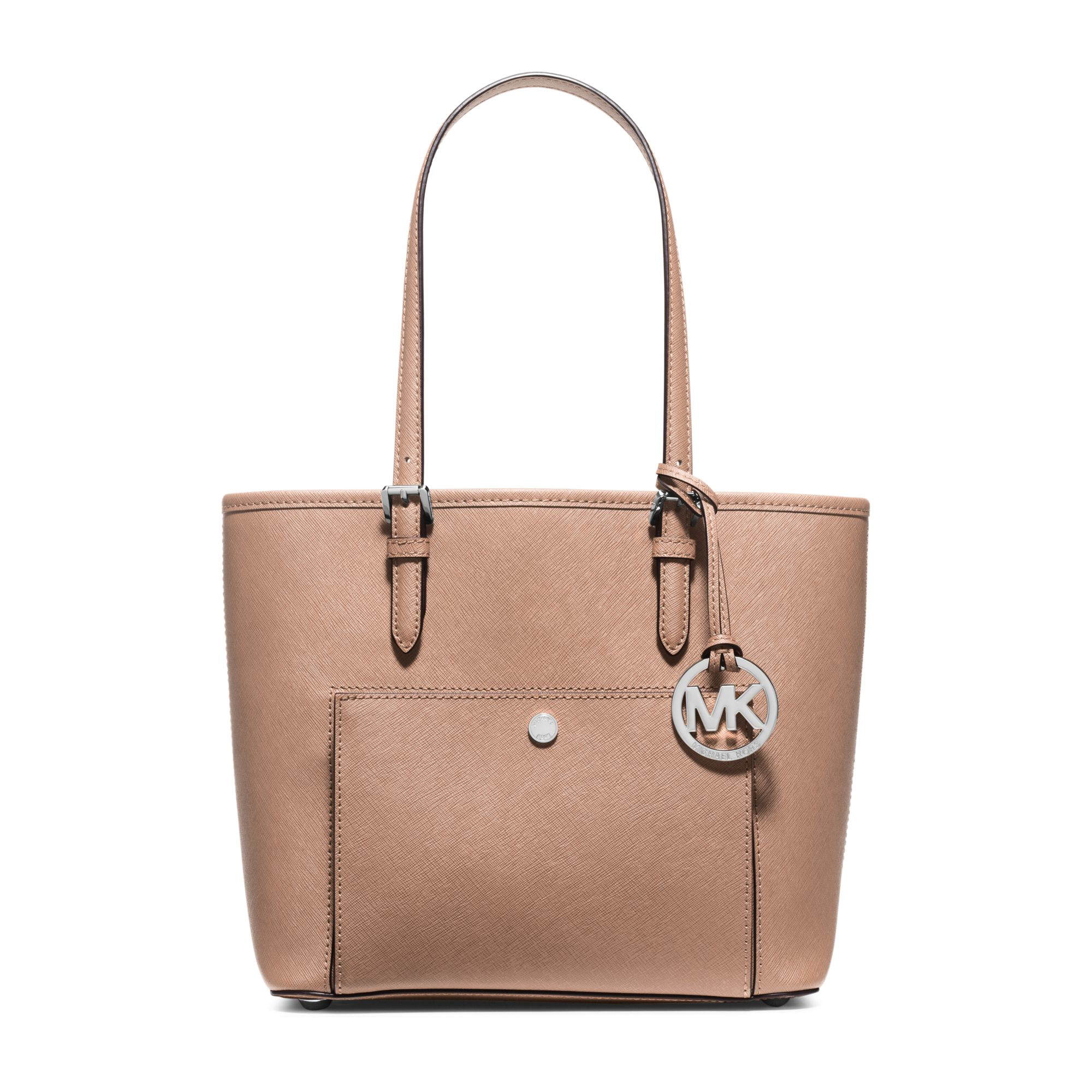 michael kors jet set medium saffiano leather tote in pink lyst. Black Bedroom Furniture Sets. Home Design Ideas