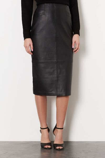 topshop leather calf pencil skirt in black lyst