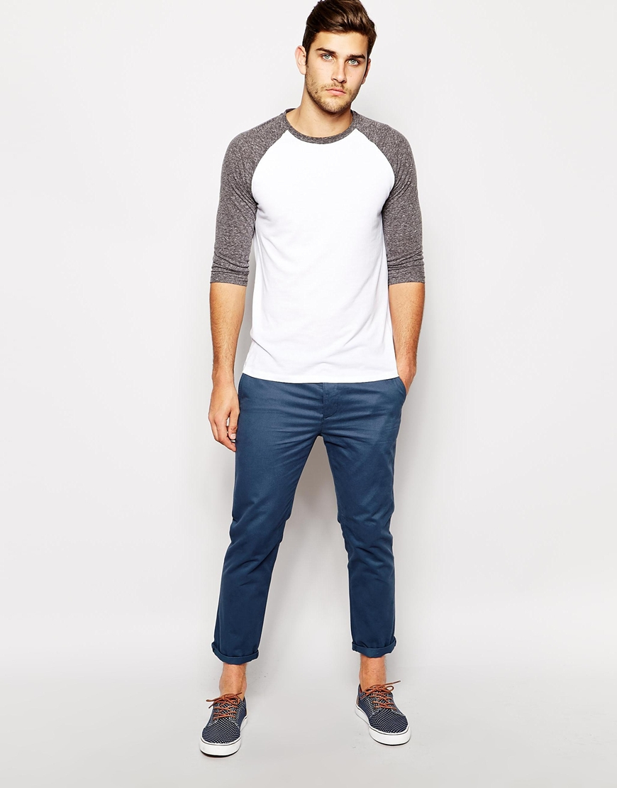 Asos Slim Chinos in Cropped Length in Blue for Men | Lyst