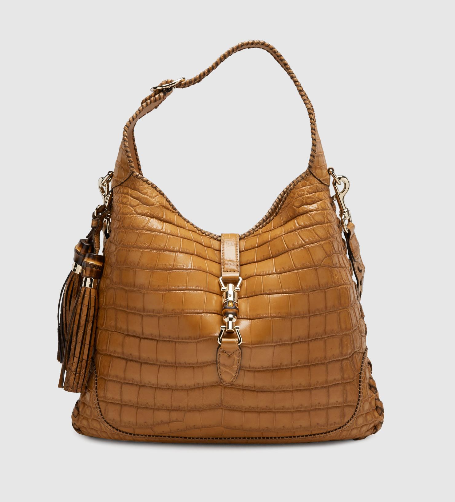 8ac467378a5 Gucci New Jackie Crocodile Shoulder Bag in Brown - Lyst