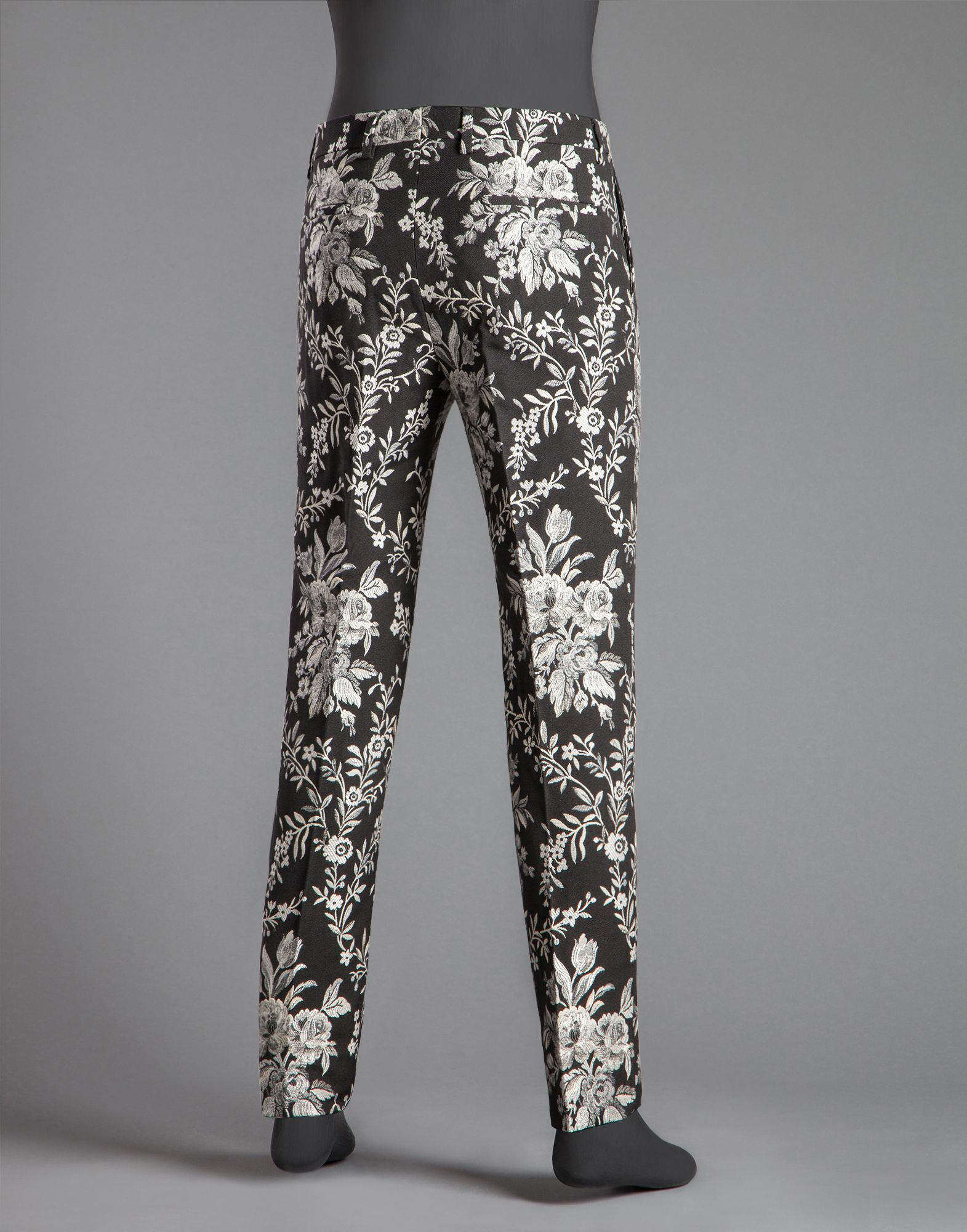 Lyst Dolce Gabbana Floral Jacquard Trousers In Black