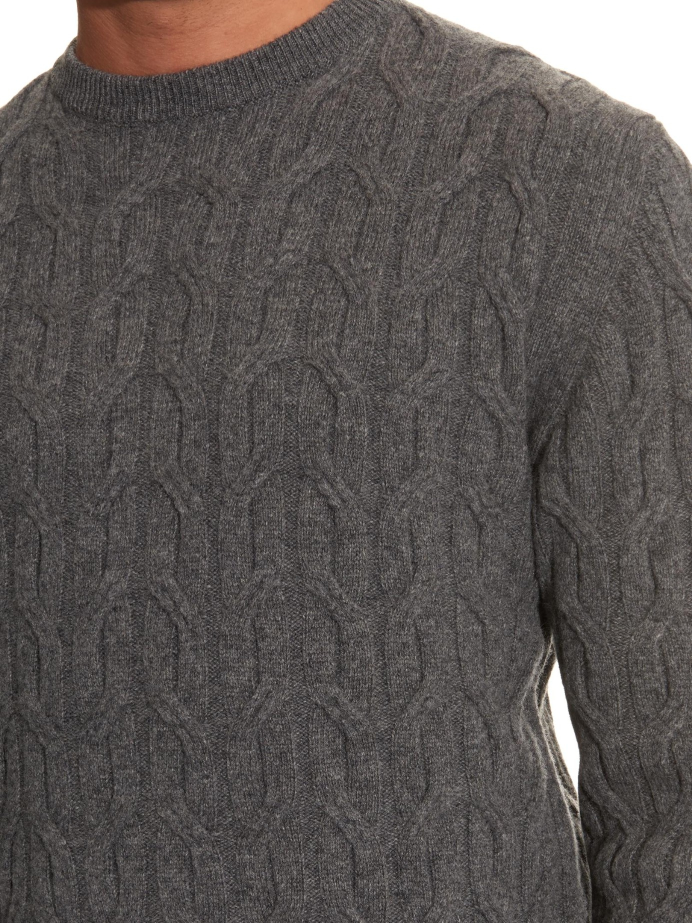 Lanvin Cable-knit Wool Sweater in Gray for Men | Lyst