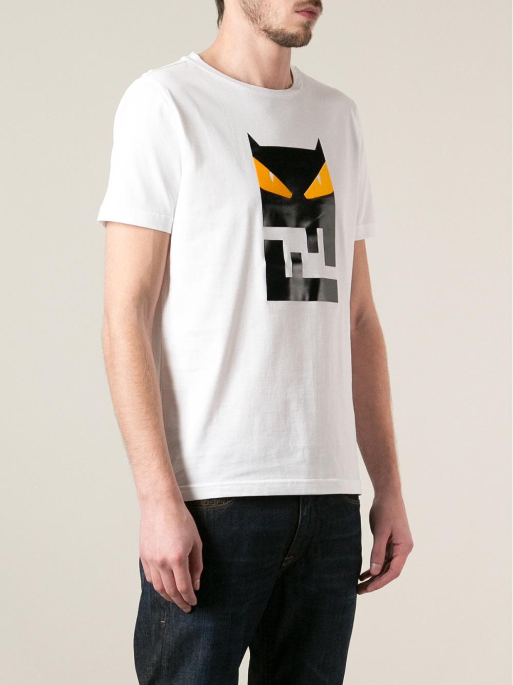 Fendi owl logo print t shirt in white for men lyst for White t shirt printing