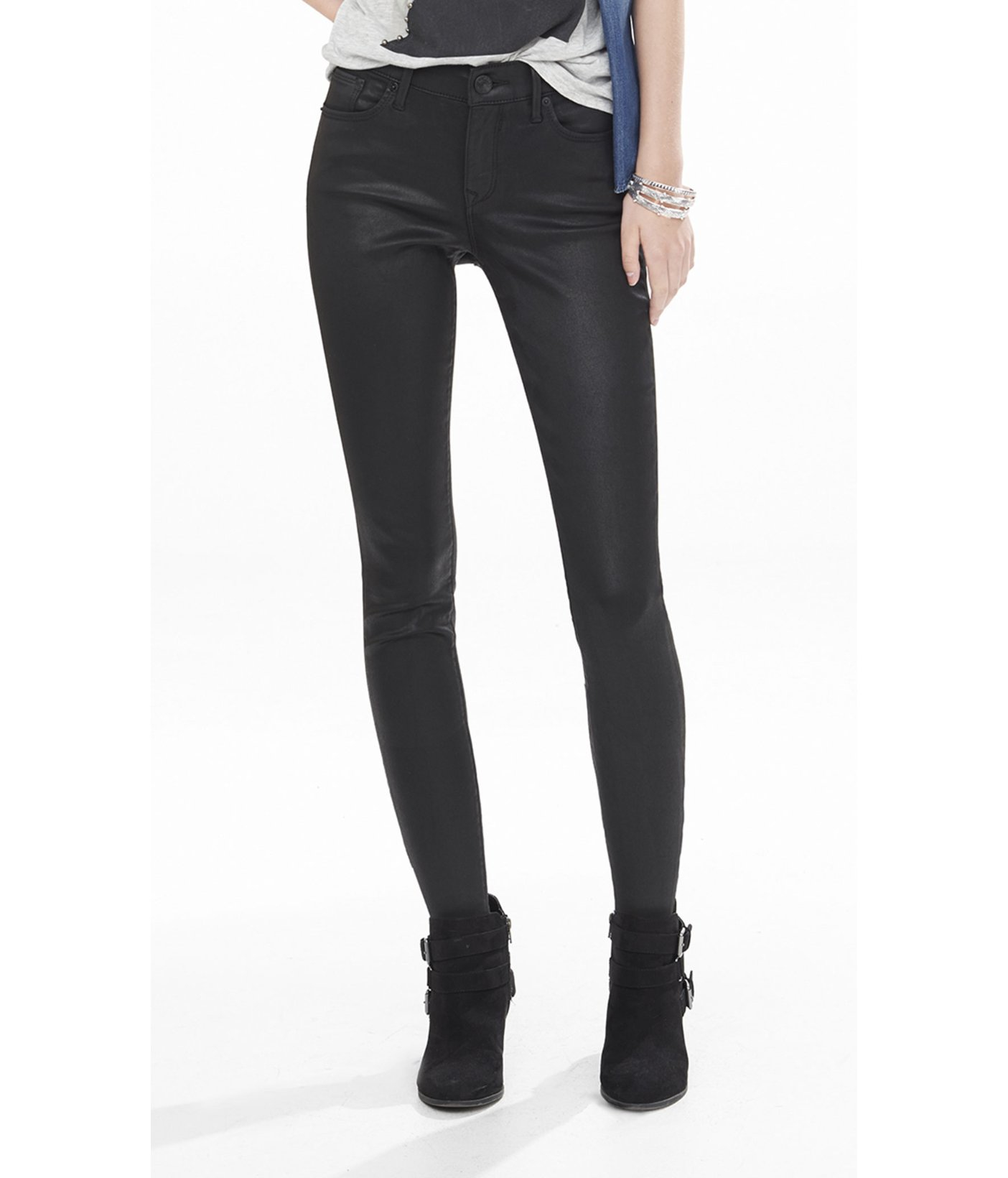 Black coated jeans women