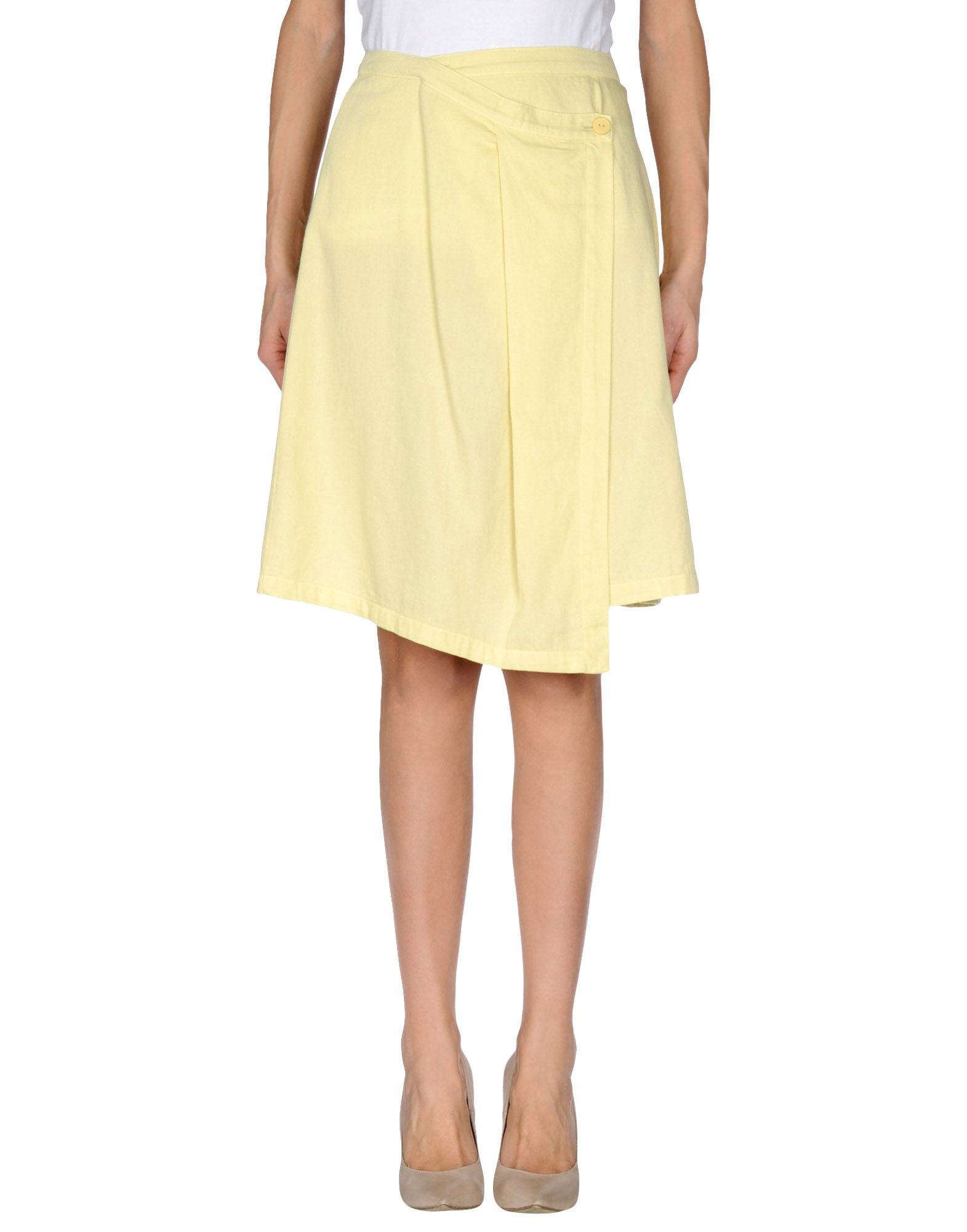 almeria knee length skirt in yellow lyst