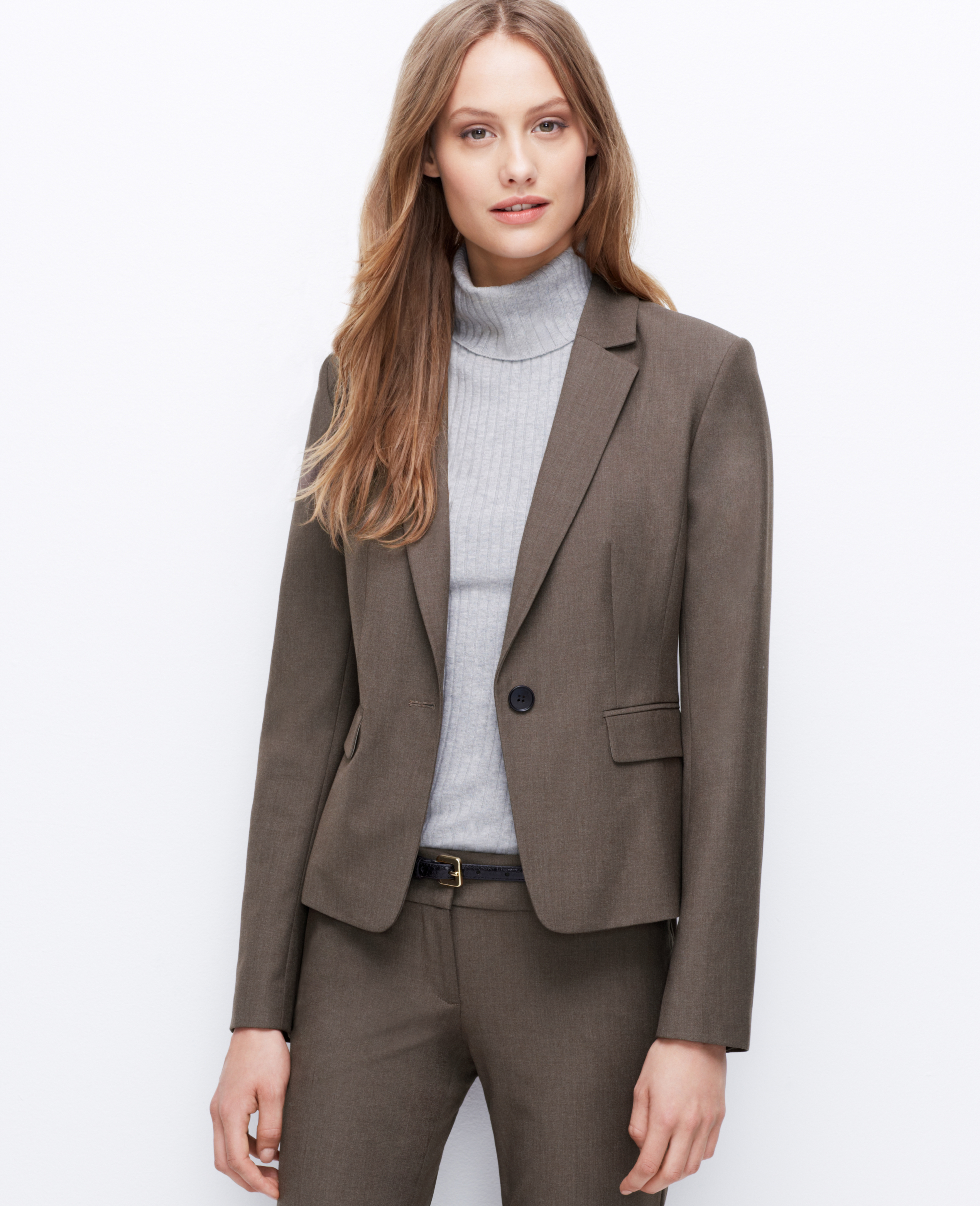 Lyst - Ann Taylor Petite All-Season Stretch One Button Jacket in Brown