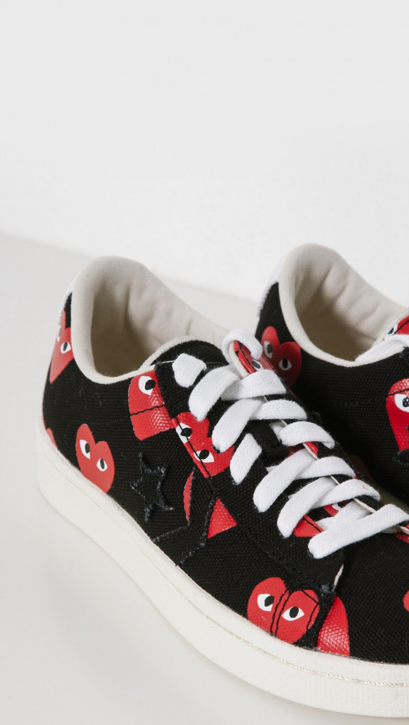 9c1698fde86 Lyst play comme des garçons play converse pro leather low in black jpg  825x1462 Cdg converse