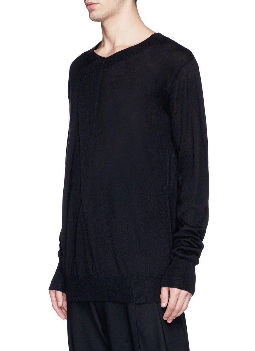 Uma wang Fold Front Wool Sweater in Black for Men