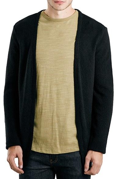 Topman Black Textured Cardigan 110