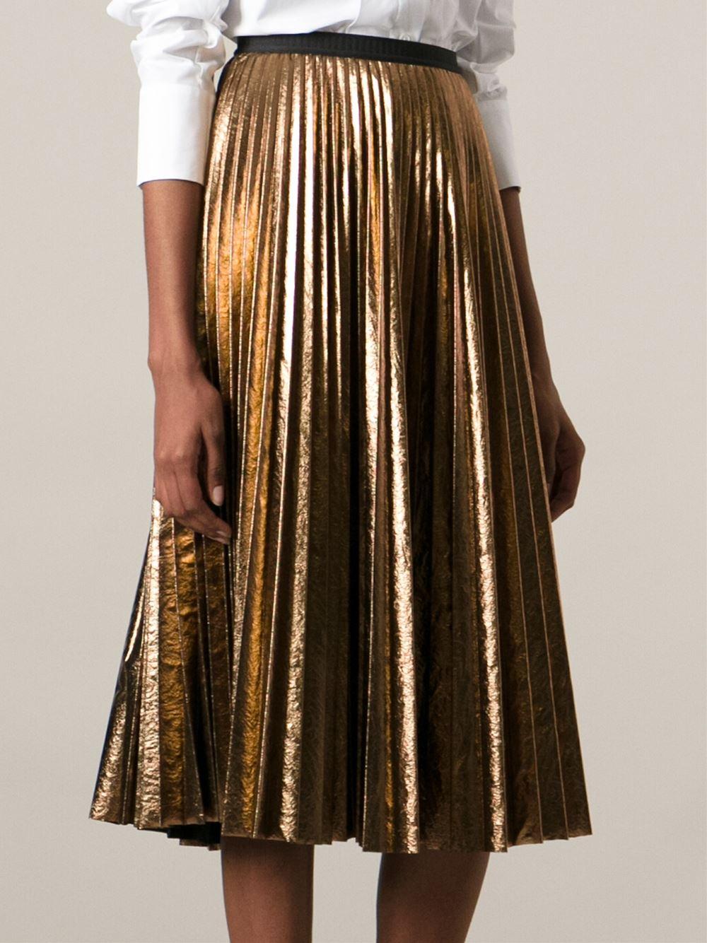 Antonio marras Metallic Pleated Skirt in Metallic | Lyst