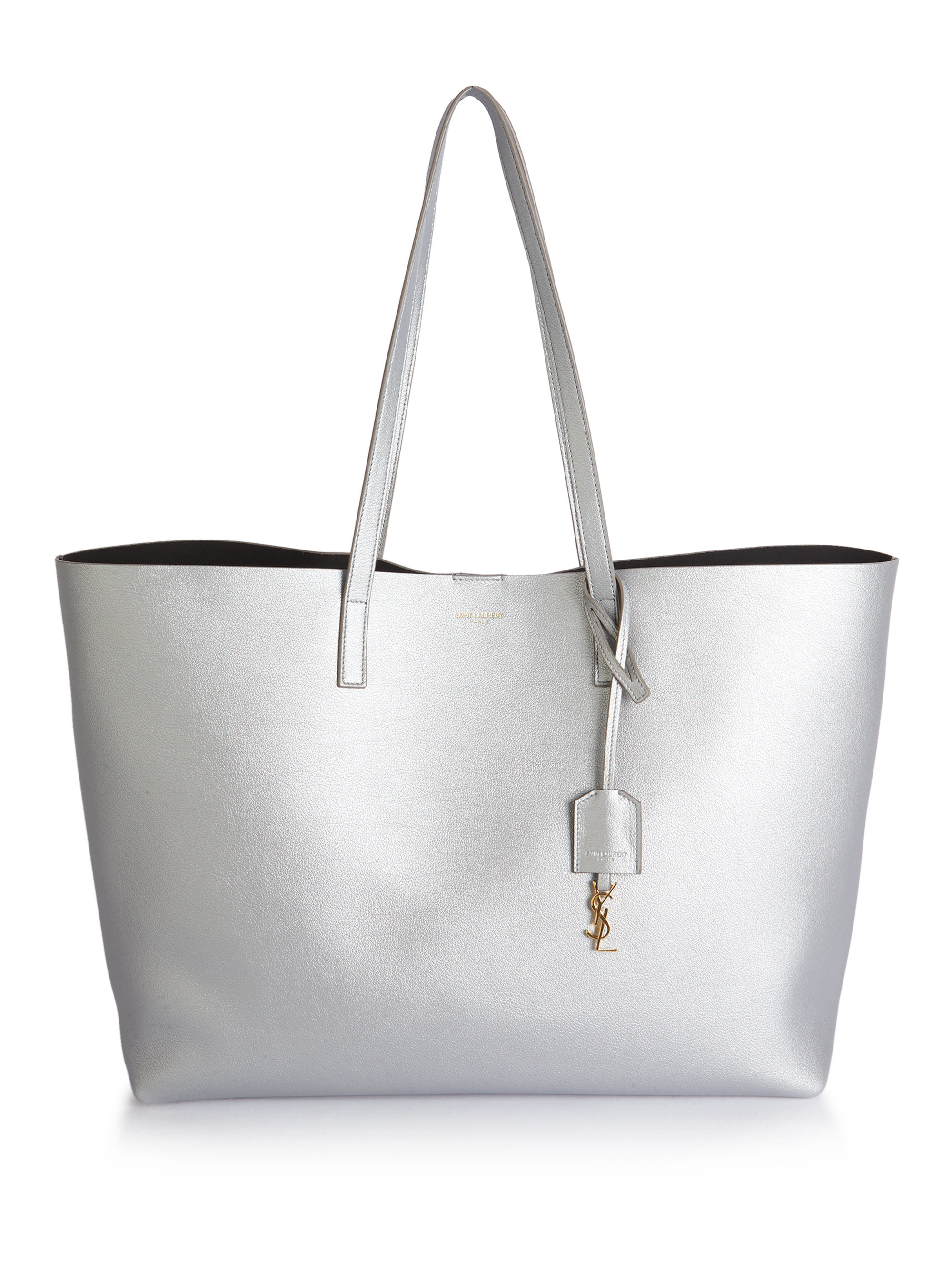 f05f1d2af44 Saint laurent Large Shopping Tote Smooth Leather in Silver | Lyst