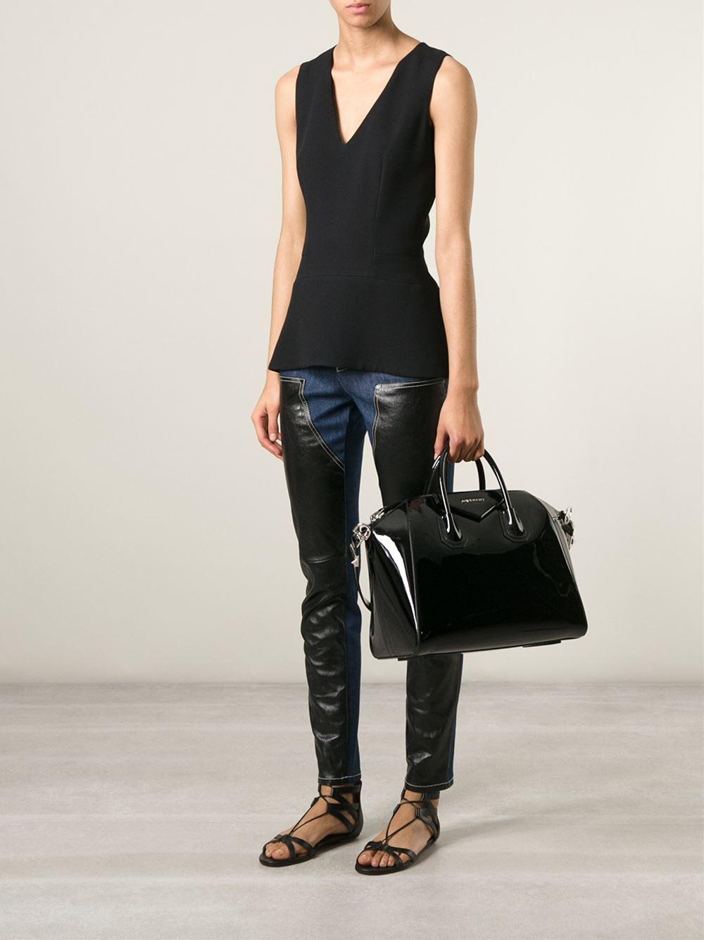 74fcdb3f758f Lyst - Givenchy Antigona Medium Patent-Leather Tote in Black