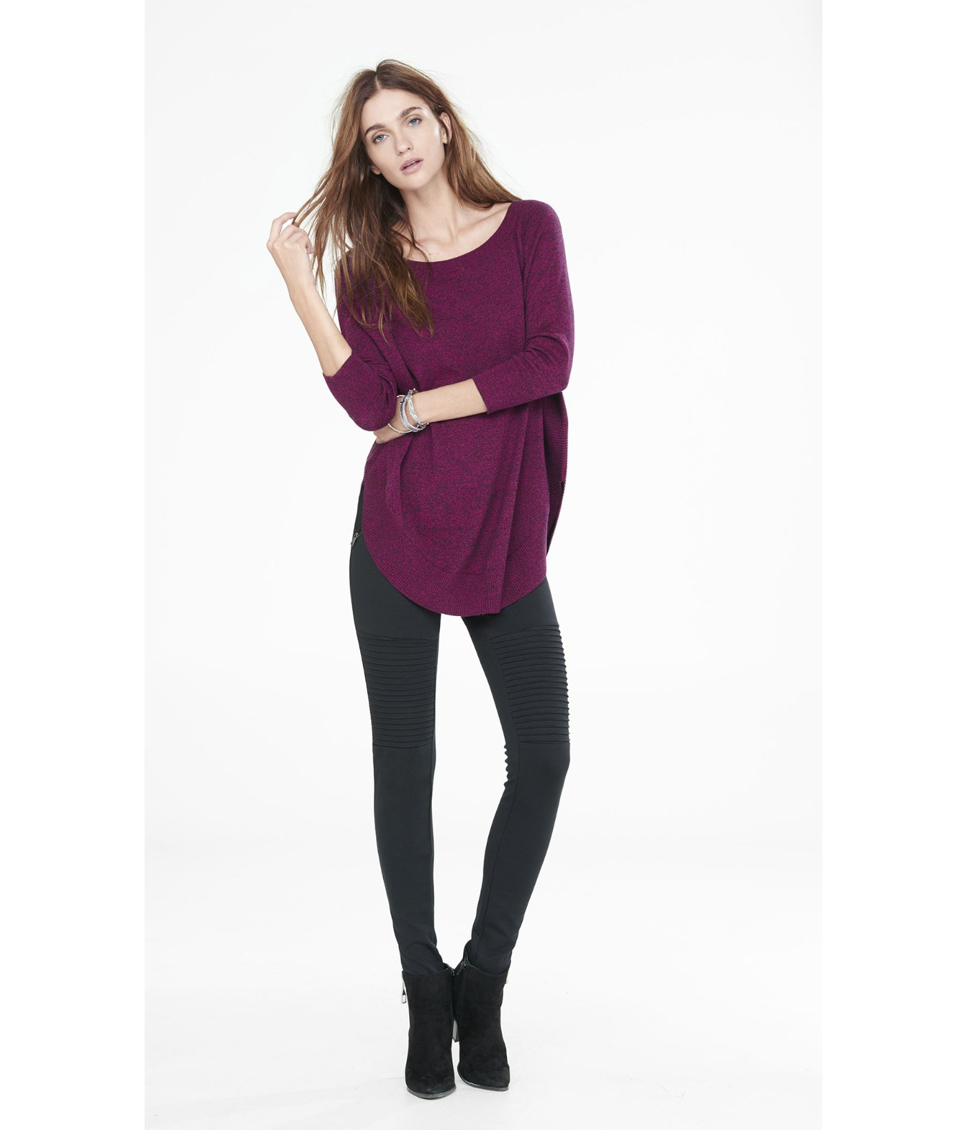 Express Marled Extreme Circle Hem Tunic Sweater in Purple | Lyst