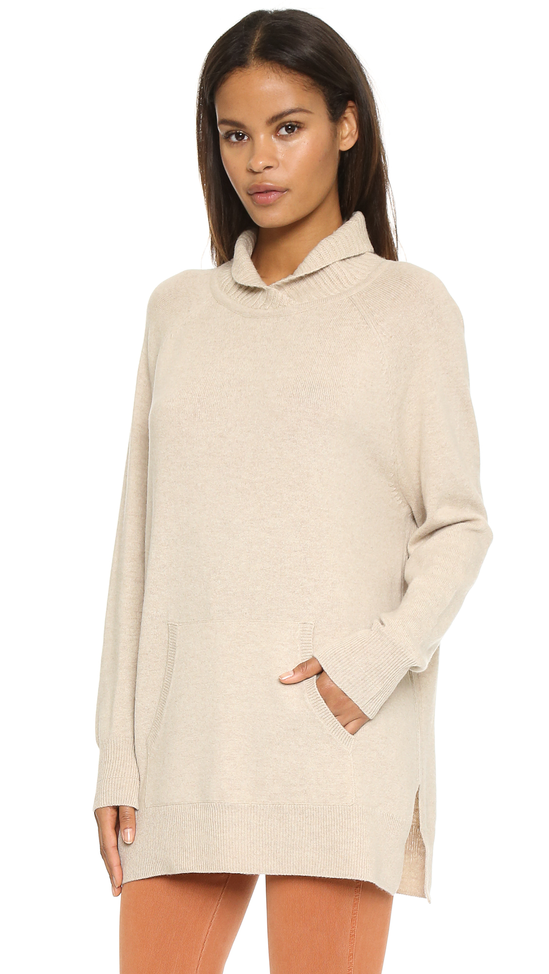 43fe6ded7 Lyst - Vince Rib Neck Pullover - Heather Oatmeal in Natural