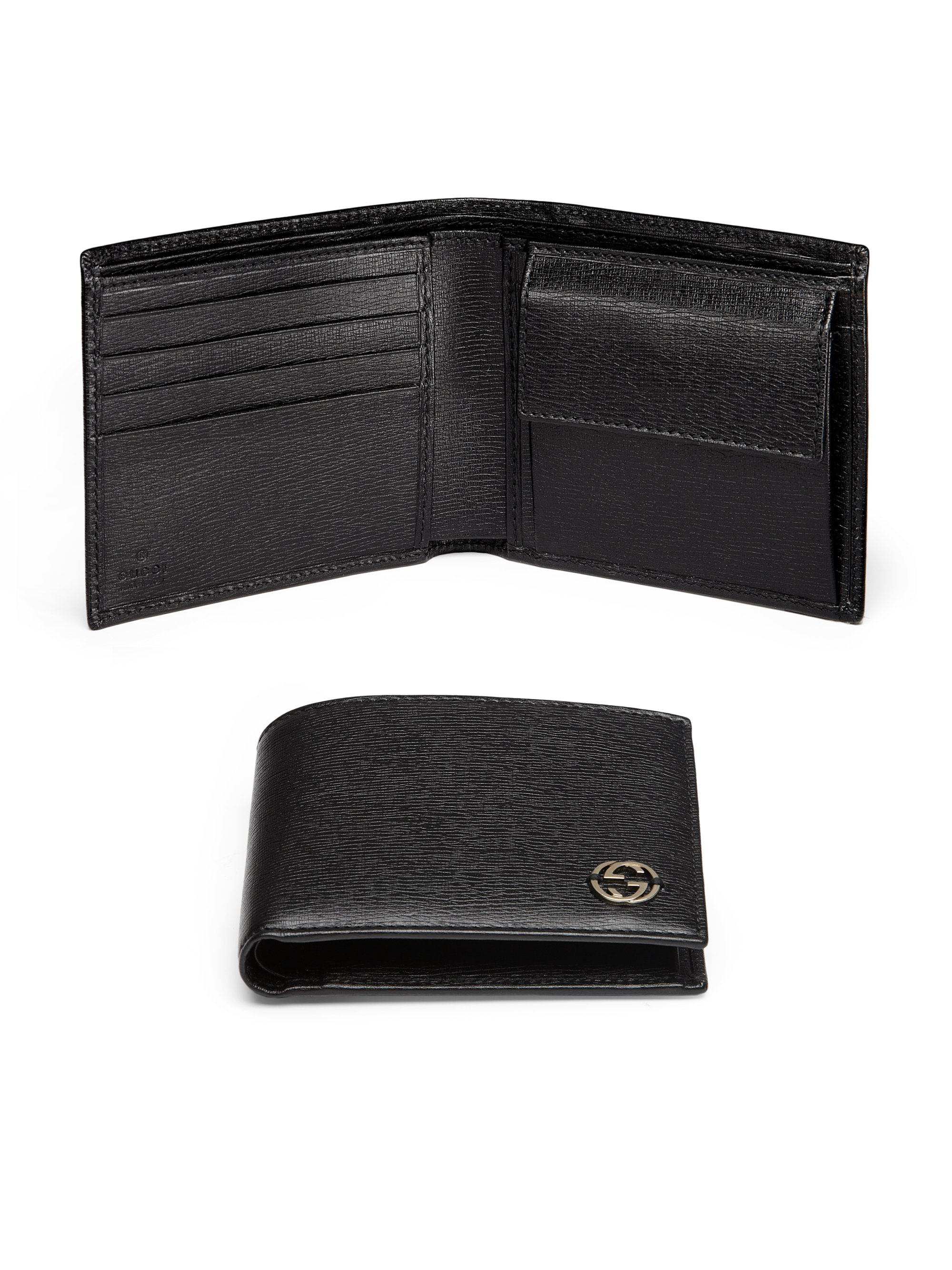 gucci leather coin wallet in black for men lyst