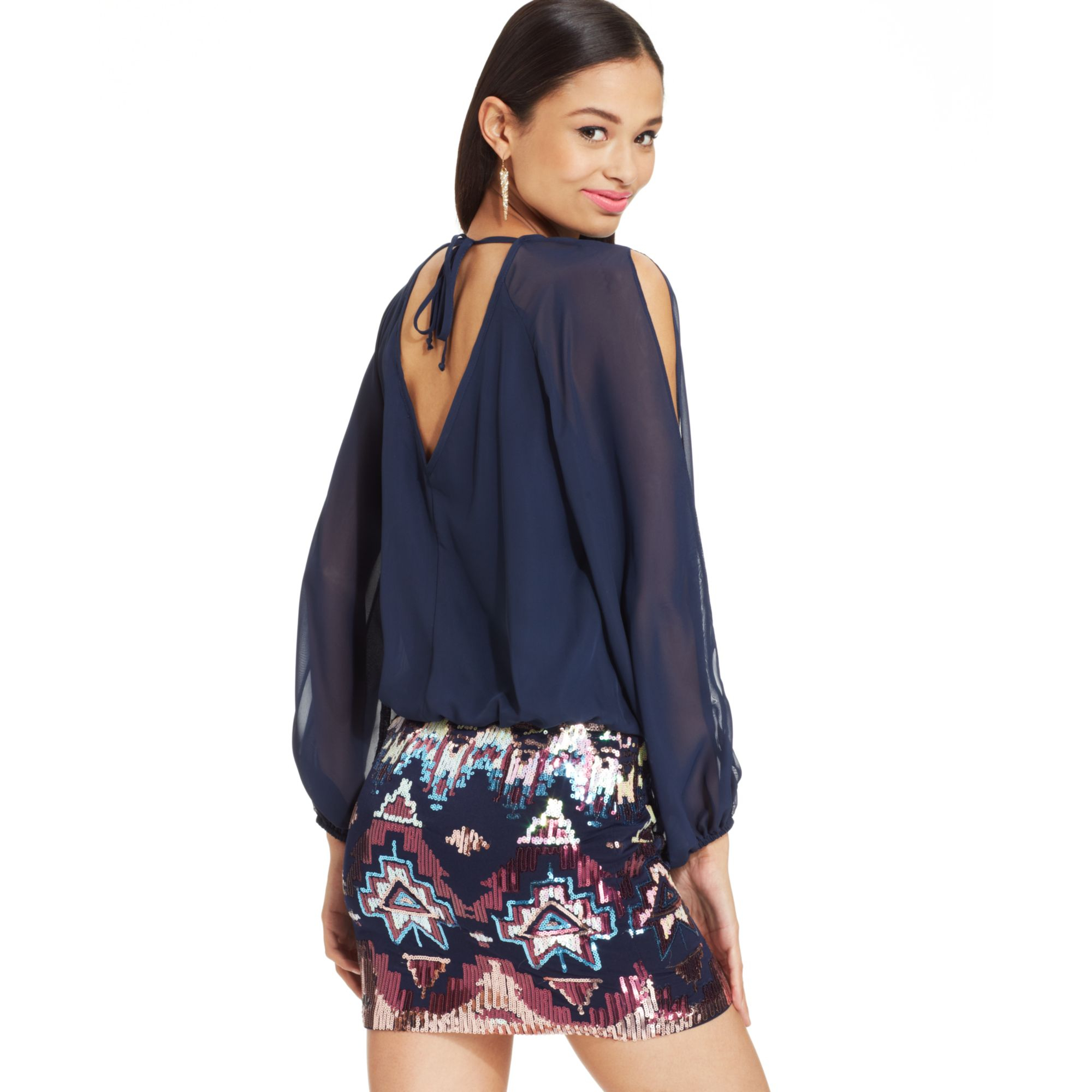 Lyst - As U Wish Juniors Chiffon Sequin Blouson Dress in Blue